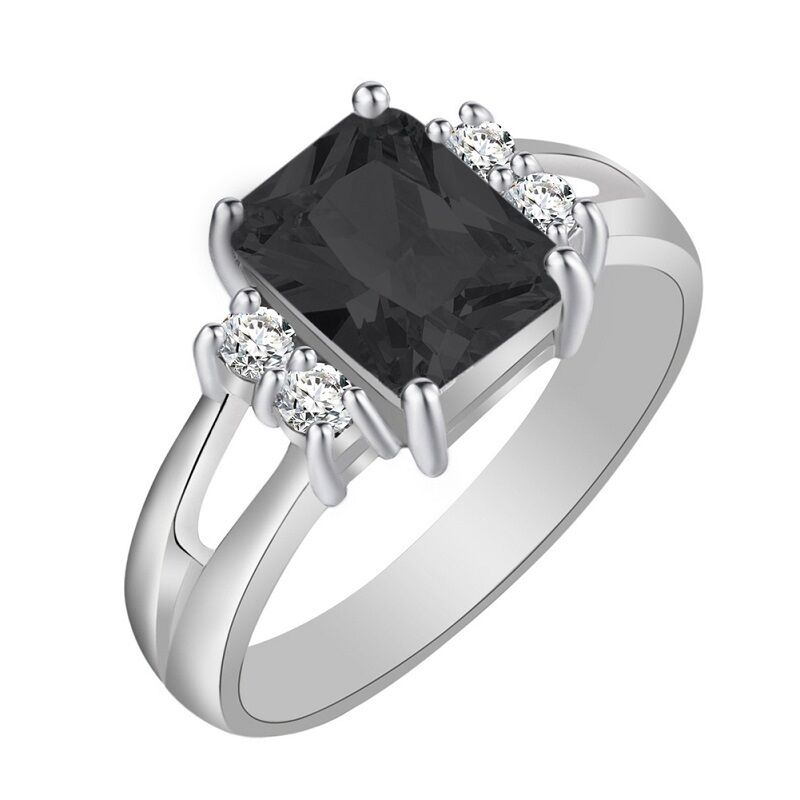 Glamour Couple Black Sapphire White Gold Filled Wedding Band Ring