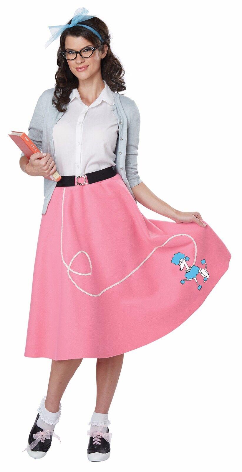 50\'s Adult Pink Poodle Skirt Retro Costume Fifties Theme Halloween ...