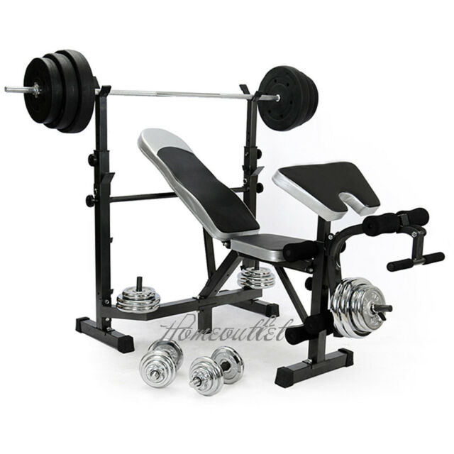 Weights Bench Multi Home Gym Equipment Dumbell Workout Abs: Home Multi Gym Weight Bench Arm Leg Curl Equipment Fitness