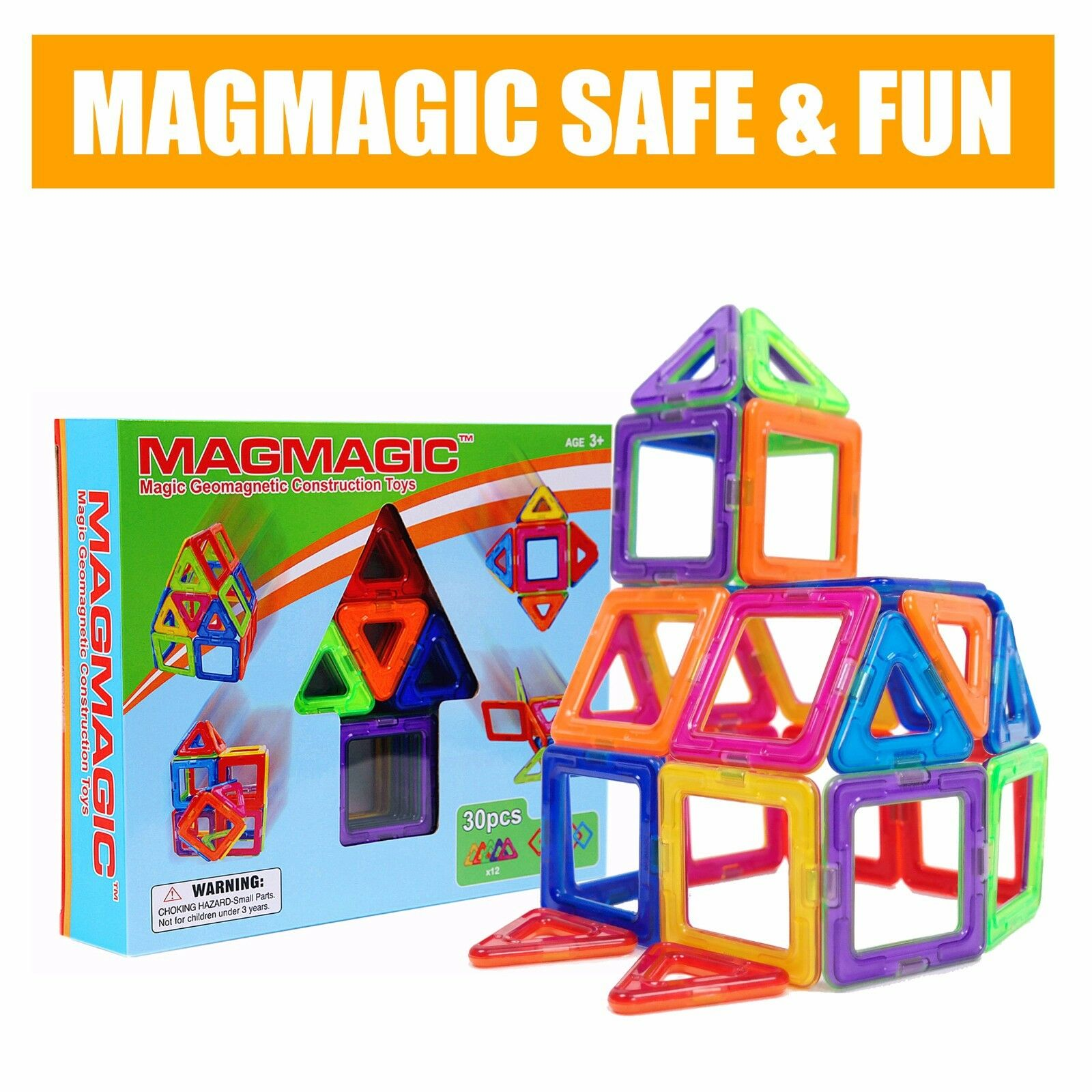 Magmagic 30pcs Magnetic Construction Building Set Toys Magnets Toy