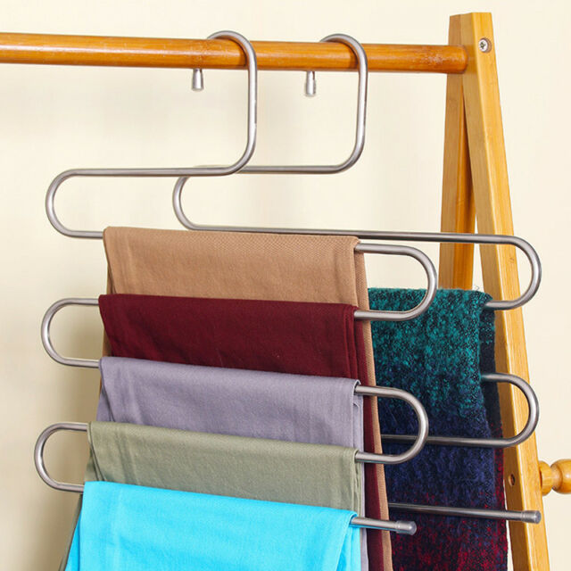 Clothes Pants Trouser Hanger Multi Layer Storage Rack Closet Space Saver S  Shape