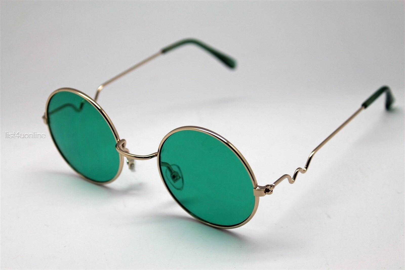 Green Round Sun Glasses Gold Frames Trigun Vampire Cosplay Steam ...