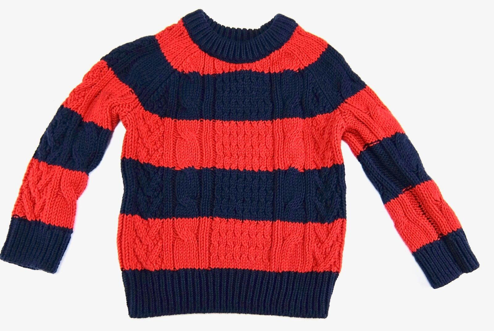 Baby Gap Boys Cableknit Sweater Red Blue Stripe Pullover Size 18 ...