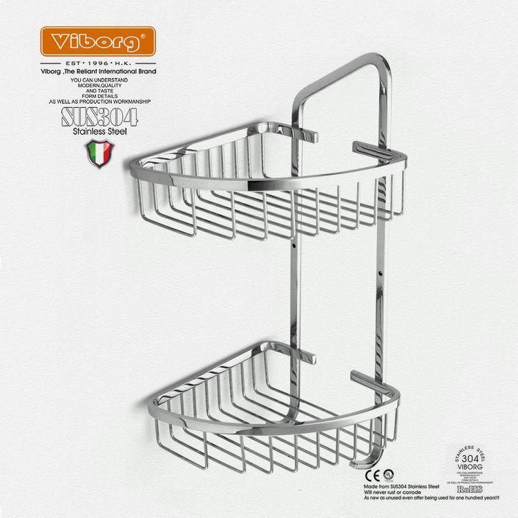 Viborg Sus304 Stainless Steel Double Tier Corner Shower Basket Shelf ...