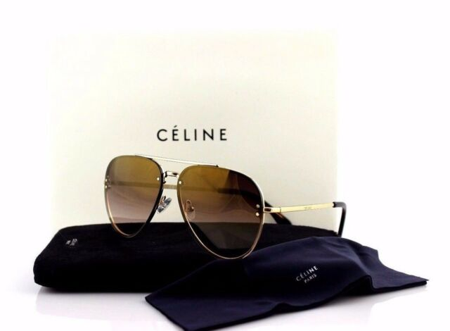 NEW Authentic CELINE Mirror Gold Brown Aviator Sunglasses CL 41392/S J5G QH