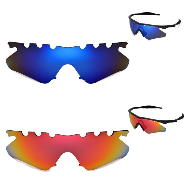 Walleva Polarized Fire Red Ice Blue Vented Lenses for Oakley M Frame ...