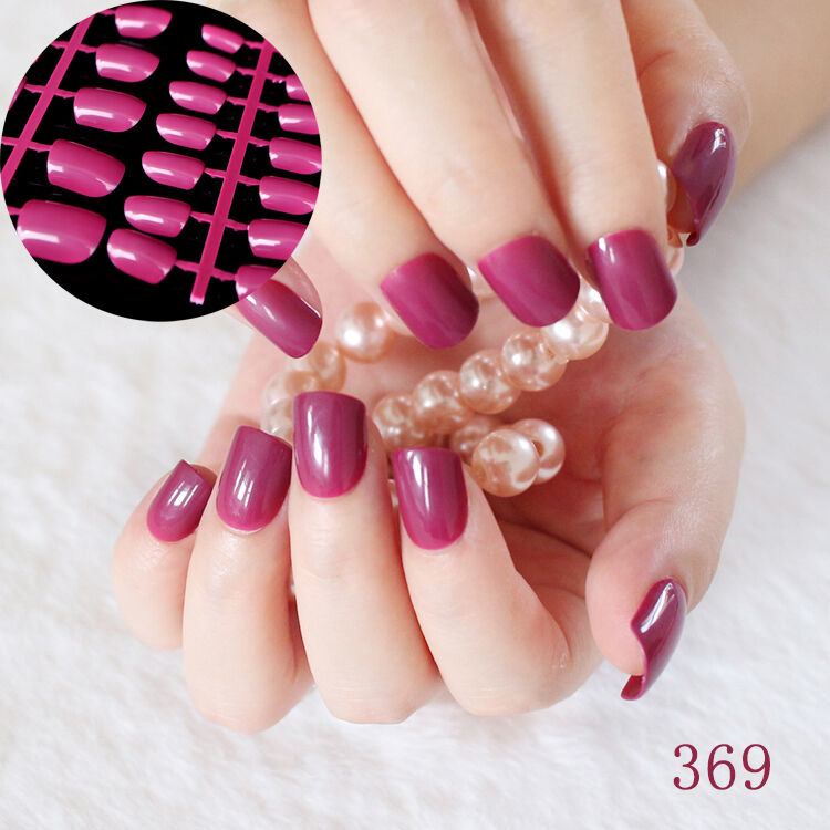Classic Flat Fake Finger Nails Dark Rose Acrylic Candy False Nails ...