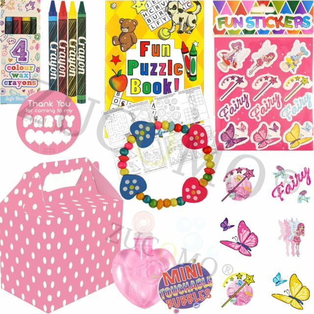 Kids Pre Filled Pink Childrens Paper Party Bags Boxes for Birthday