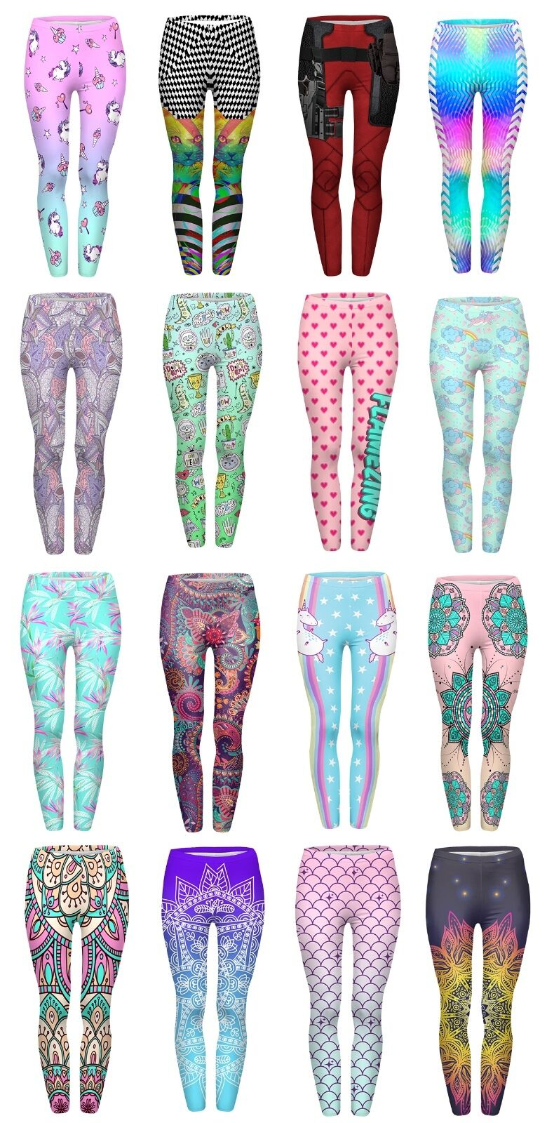Womens Yoga Printed Leggings Stretchy Workout Running Gym Pants