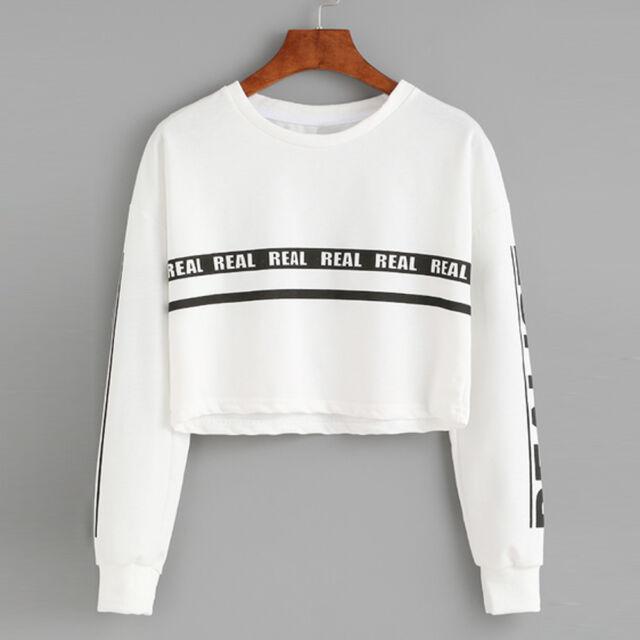 2017 Women Hoodie Sweatshirt Jumper Sweater Crop Top Coat Sports ...