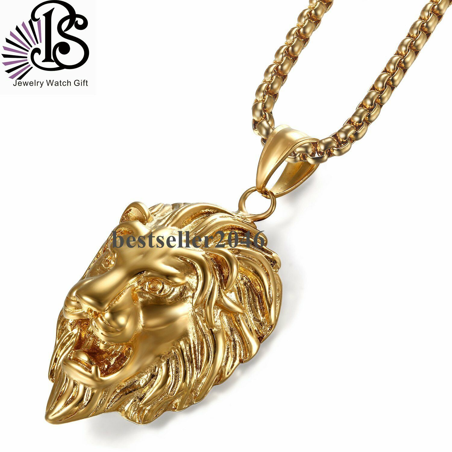 out new pin gold lion head box hip king iced pendant necklace gorgeous chain hop