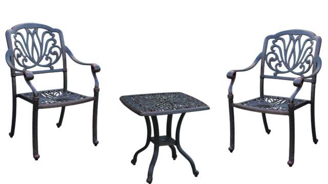 Bistro Patio Set 3 Piece Outdoor Elisabeth Furniture Garden Cast Aluminum  Bronze