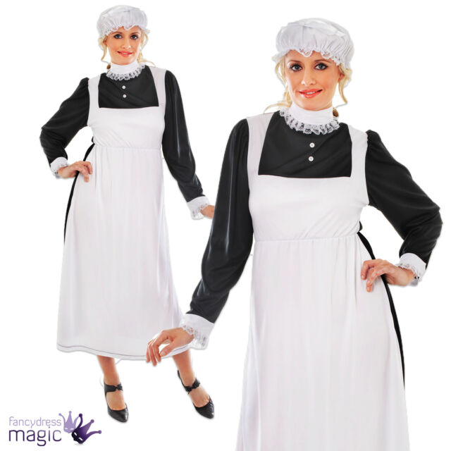 *Adult Womens Ladies Victorian Maid Fancy Dress Costume Outfit Size 10 12 14 16*