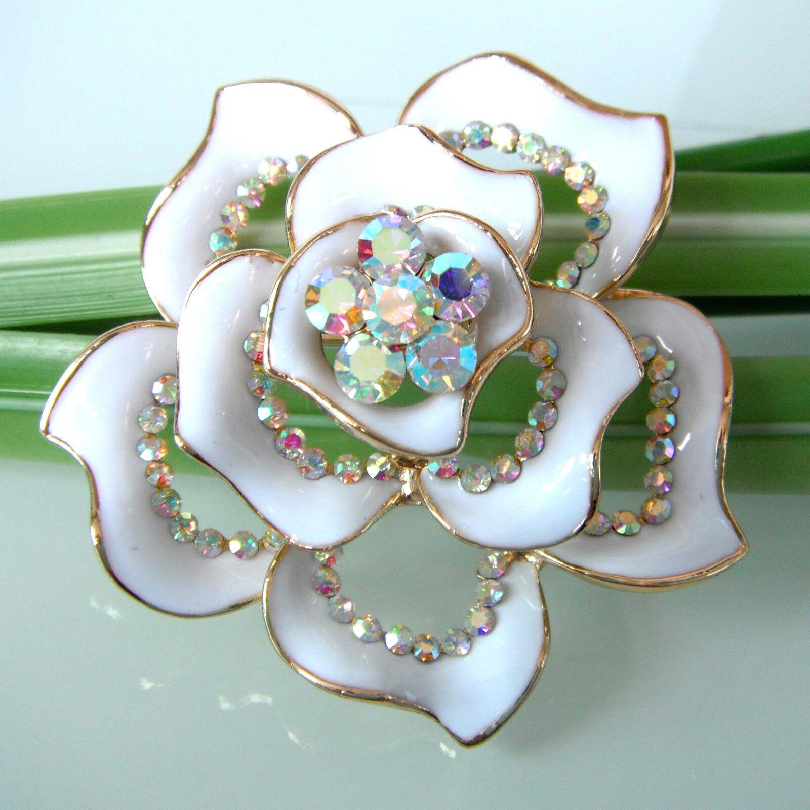 Navachi White Enamel 18k Gp Crystal Flower Brooch Pin Bh7790 Ebay