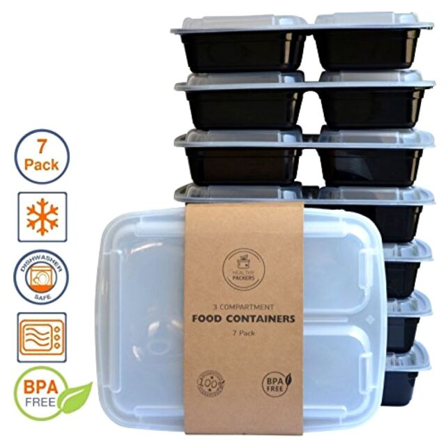 Healthy Packers 3 Compartment Reusable Food Prep Containers With