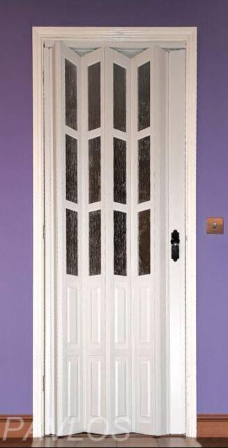 Folding Door PVC WHITE HALF GLASS Lockable Internal 12mm Thick Panel
