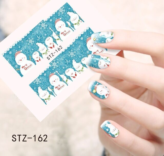 Full Wrap Water Transfers Nail Art Decals Christmas Snowflakes ...