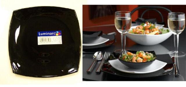 Luminarc Quadrato Black Dinner Plate(s) Square Arc Glass dinnerware France & Luminarc Quadrato Black Dinner Plates Square Arc Glass Dinnerware ...