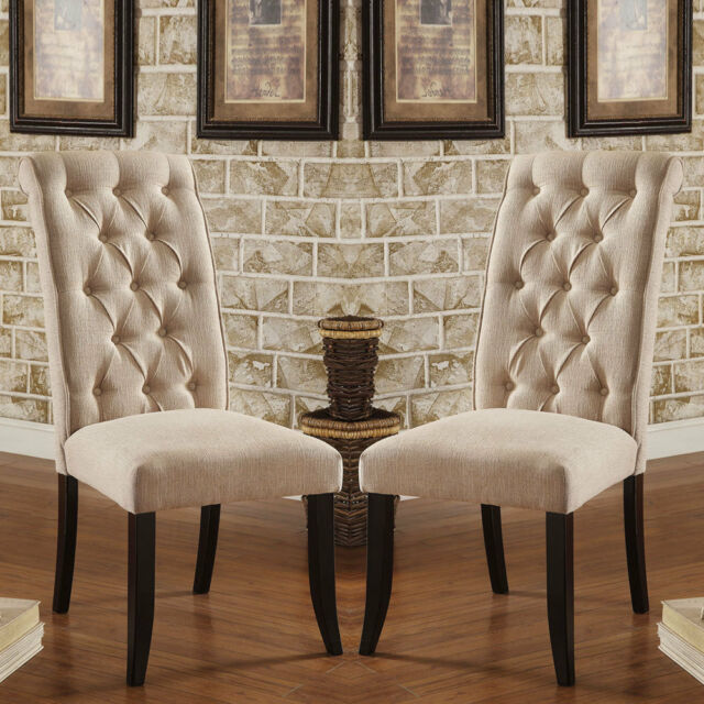 Set Of 2 Marshall Dining Chairs Ivory Padded Fabric Button Tufted Chairback  Wood