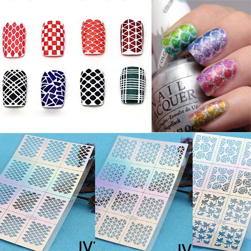 16 Design Sheet Nail Art Manicure Stencil Stickers Nails Stamping ...
