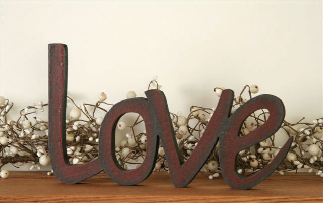 Rustic Country Primitive Wooden Shelf Sitter Word Sign Love Cottage Cabin Ebay