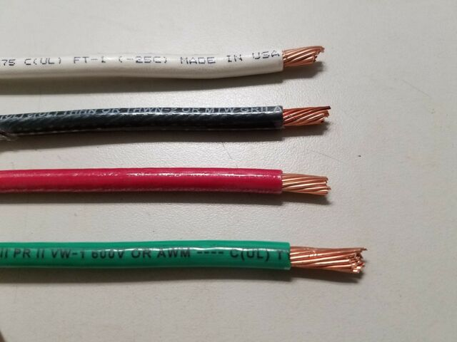 20\' EA THHN THWN 6 AWG Gauge Black White Red Green Stranded Copper ...