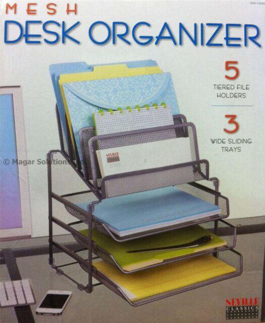 Seville Classics Mesh Desk Organiser With 3 Trays & 5 Tiered File/Letter Holder