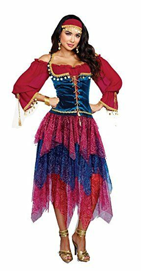 Dreamgirl Gypsy Crystal Ball Fortune Teller Adult Womens Halloween Costume 10669  sc 1 st  eBay & Dreamgirl 10669 Alluring Gypsy Costume Multicolor XL Dg10669i1531115 ...