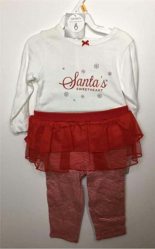 carter s baby girl christmas 2 pc glitter bodysuit tutu pant set