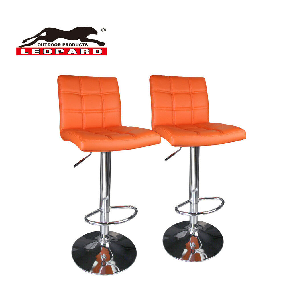 Modern Square Leather Adjule Bar Stools With Back Set Of 2