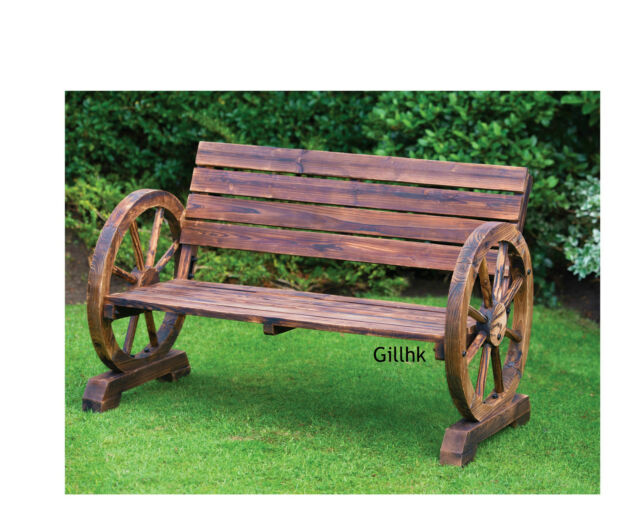 Seater Burnt Wood Wooden Wagon Wheel Garden Patio Bench