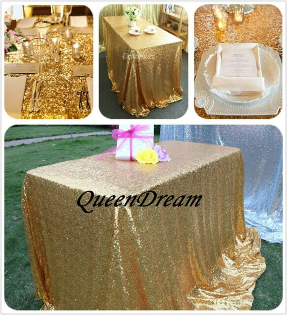Grand gold 60x102 rectangle wedding table linen cloth fabric sequin grand gold 60x102 rectangle wedding table linen cloth fabric sequin tablecloth junglespirit Choice Image