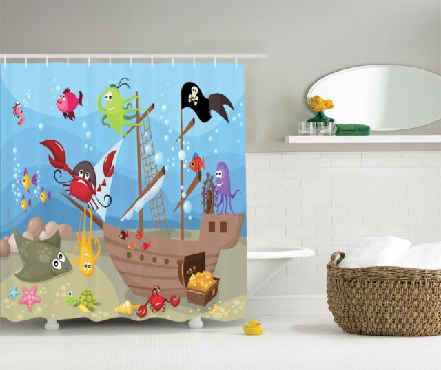 Ocean Octopus Treasure Sunken Ship Pirate Sail Shower Curtain Extra Long 84 Inch