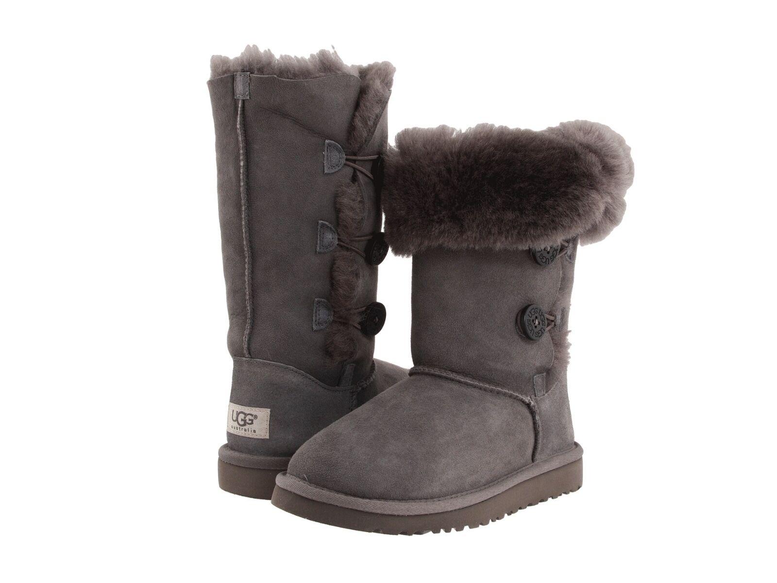 ugg australia bailey button triplet 6 m grey leather boots 1873 ebay