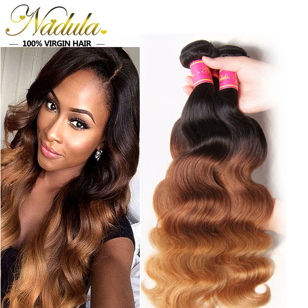 Ombre Brazilian Virgin Wavy Hair Bundle100g Three Tone Body Wave