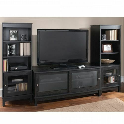 home entertainment center tv stand shelves wood media console 2 side pier towers ebay. Black Bedroom Furniture Sets. Home Design Ideas