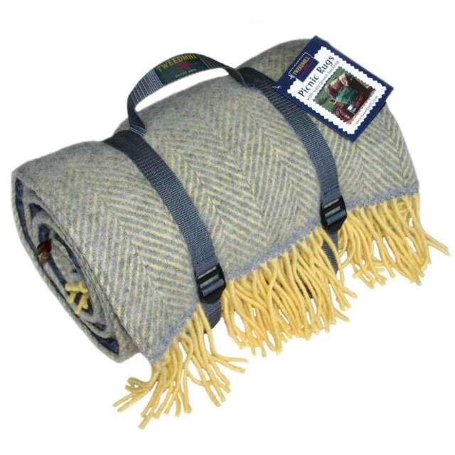 Silver Grey Lemon Herringbone Polo Wool Picnic Rug Waterproof By Tweedmill