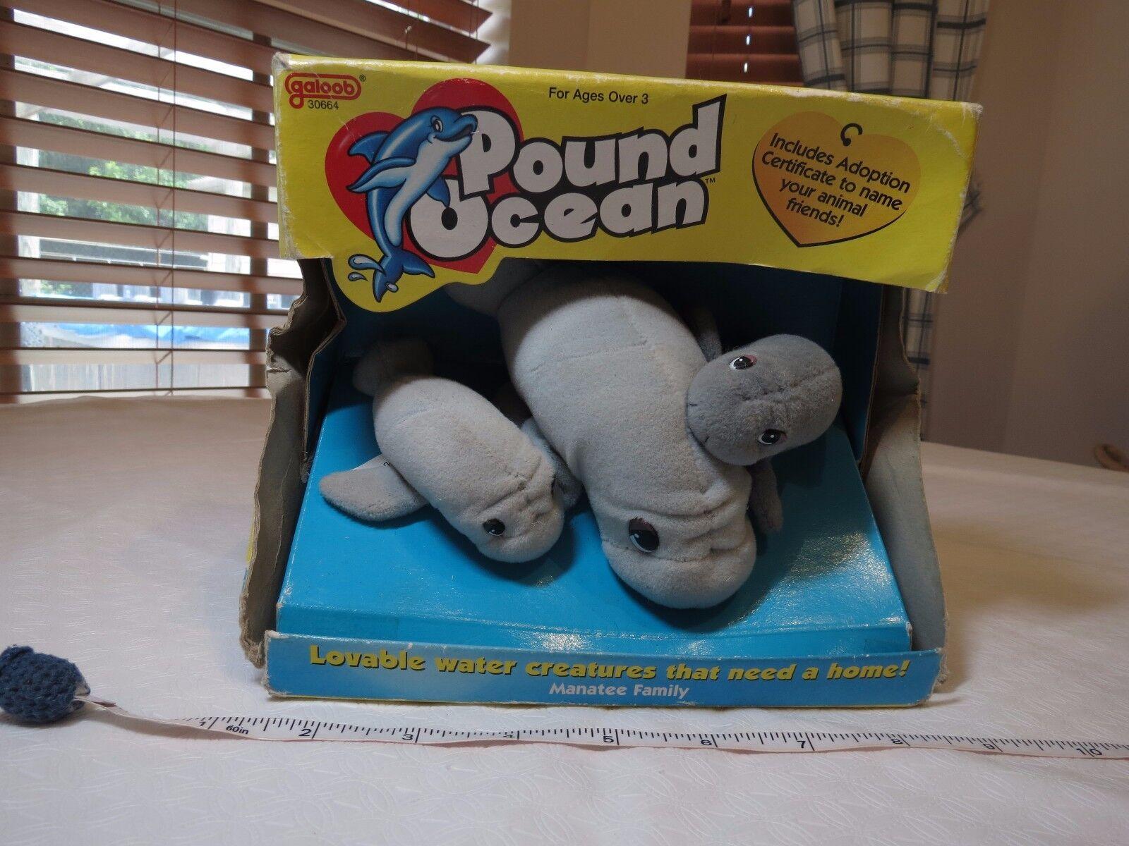 Galoob Pound Puppies Ocean Manatee Family Plush Adoption RARE