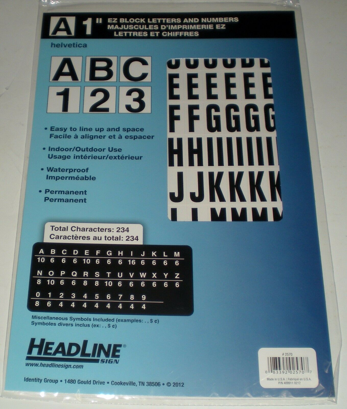 HEADLINE Sign 2570 Stick-on EZ Block Letters and Numbers Black on ...
