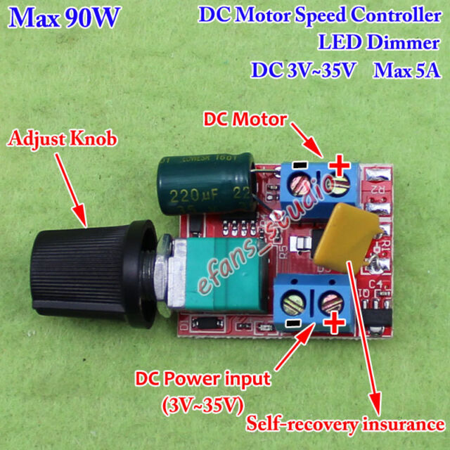 3v 35v 12v 24v 5a pwm dc motor speed controller adjustable for Fan motor speed control switch