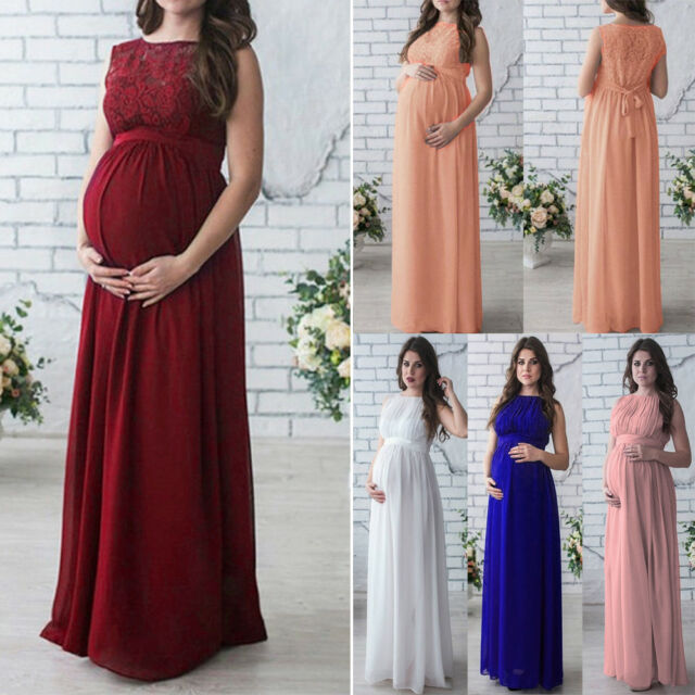 Pregnant Women Long Lace Dress Maternity Maxi Prom Gown for Photography Shoots # D 2xl