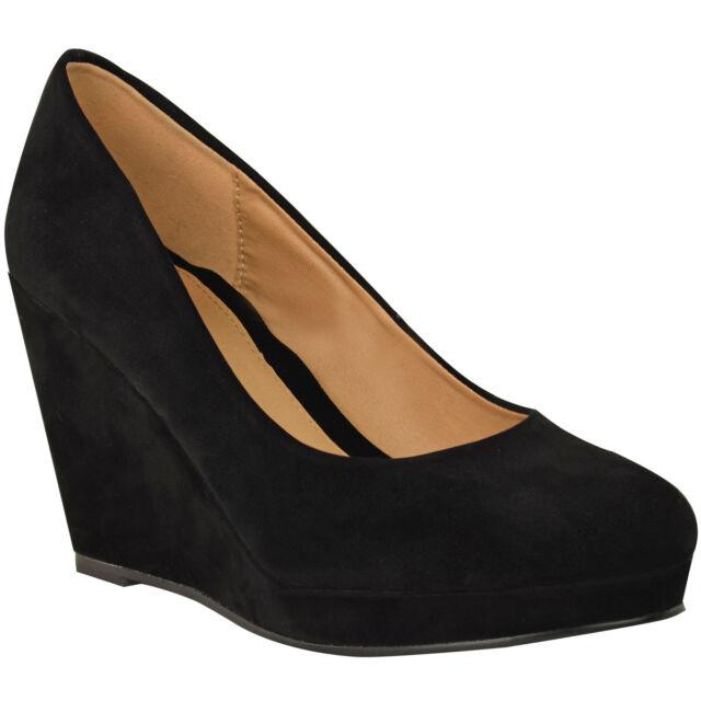 Ladies Womens Mid Heel Wedge Court Work Shoe Black Nude Sizes3-8 ...