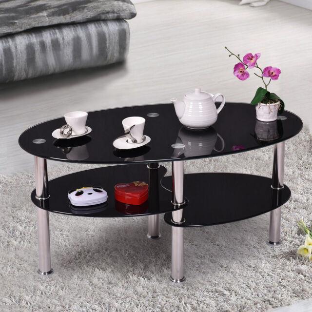 Black Design Glass Oval Side Coffee Table Shelf Chrome Metal Legs ...