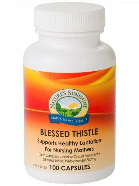 NATURE'S SUNSHINE Blessed Thistle 300mg 100 capsules increase breast milk & flow