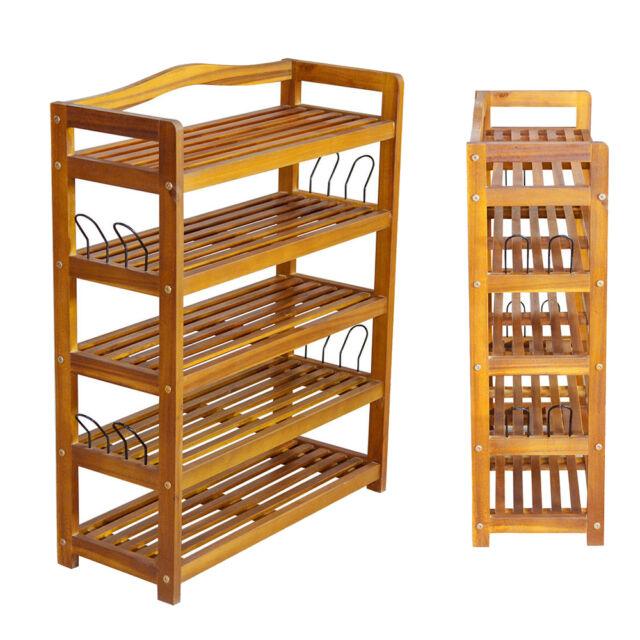 5 tier wooden shoe storage shelf rack cabinet stand organizer storing shelves uk