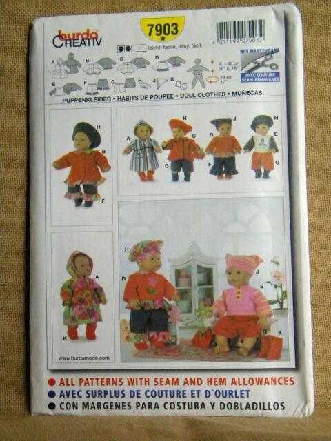 Burda Sewing Pattern Doll Clothes 7 Garments 7903   eBay