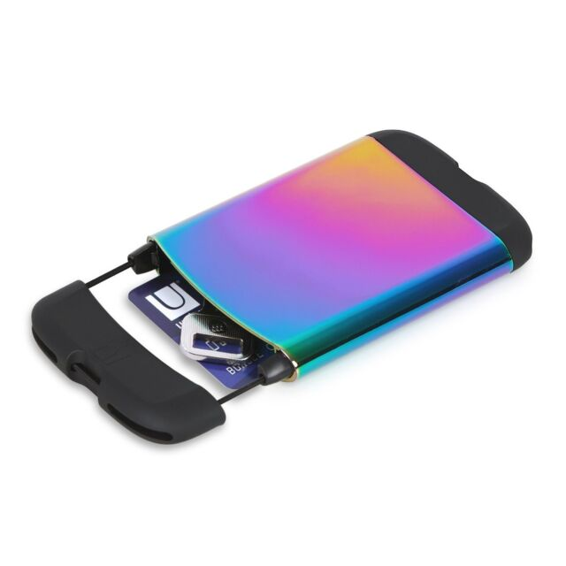 Umbra metallic bungee credit card case rainbow 1008217 1063 ebay umbra bungee rainbow business card casewallet 1008217 1063 new color reheart Images