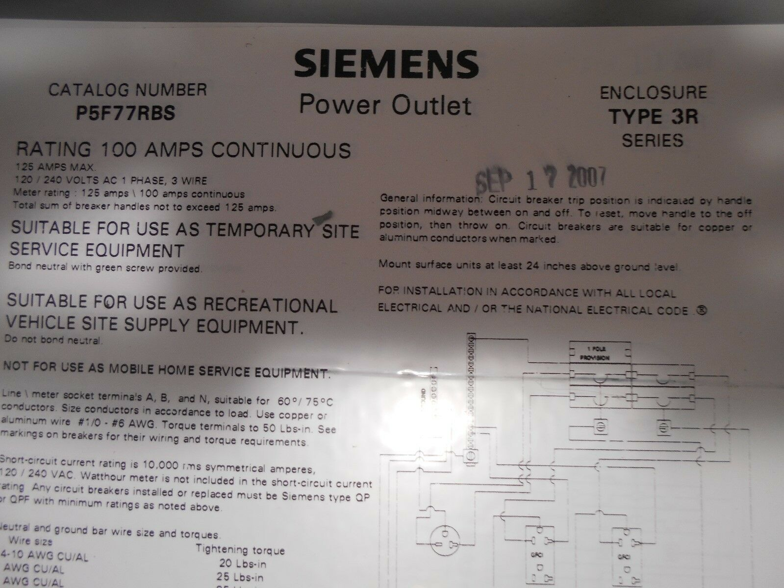 Siemens p5f77rbs power outlet panel 60a 120240vac 1 phase 3 wire ebay keyboard keysfo Image collections