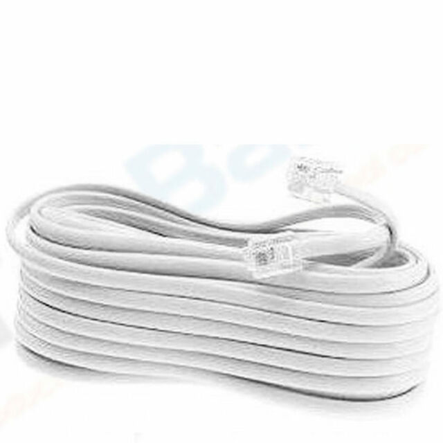 50 FT Foot Telephone Phone Extension Cord Cable Line Wire White Rj11 ...