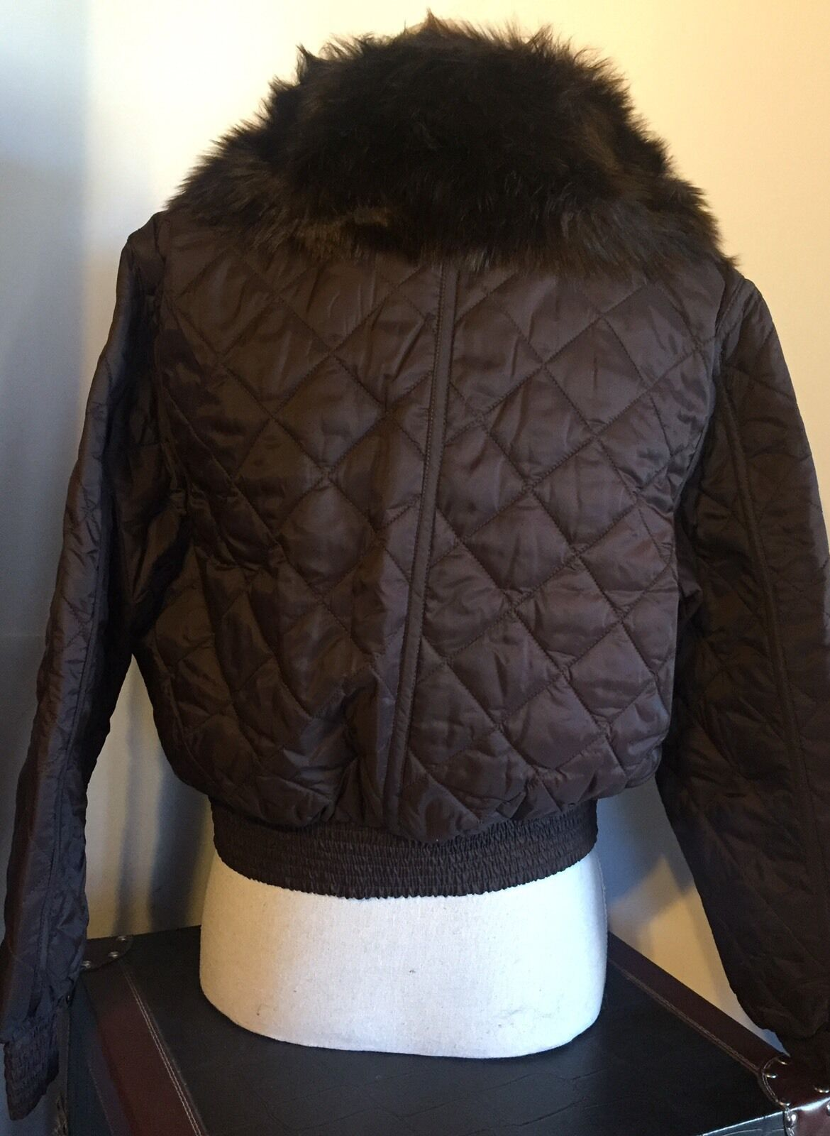 Ralph Lauren Quilted Bomber Jacket Faux Fur Chocolate Brown Petite ...